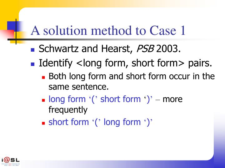 A solution method to Case 1