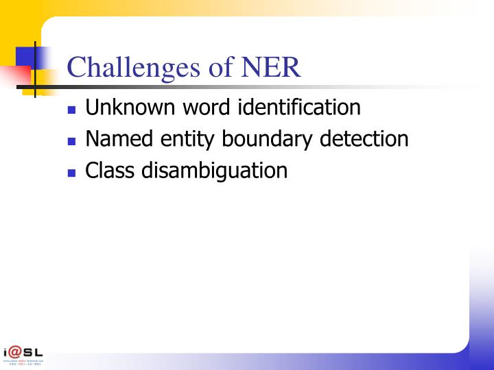 Challenges of NER