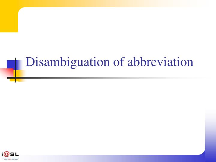 Disambiguation of abbreviation