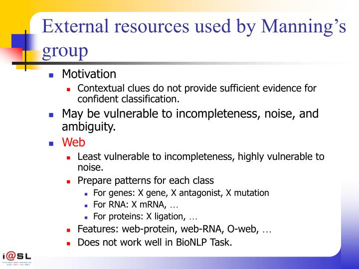 External resources used by Manning's group