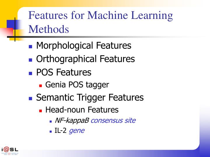 Features for Machine Learning Methods