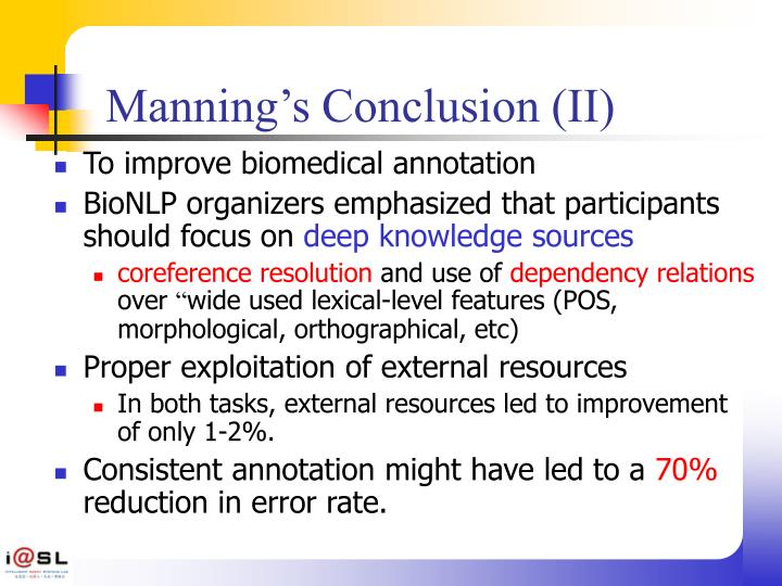 Manning's Conclusion (II)