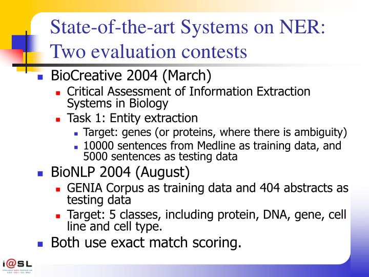 State-of-the-art Systems on NER: Two evaluation contests