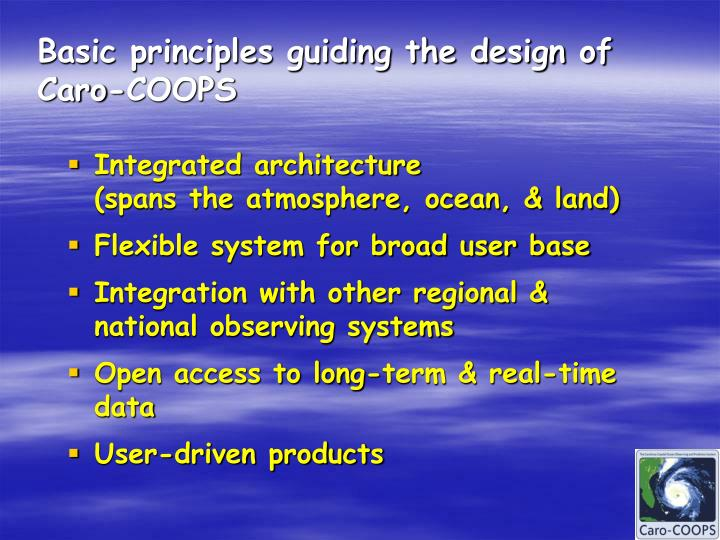Basic principles guiding the design of Caro-COOPS