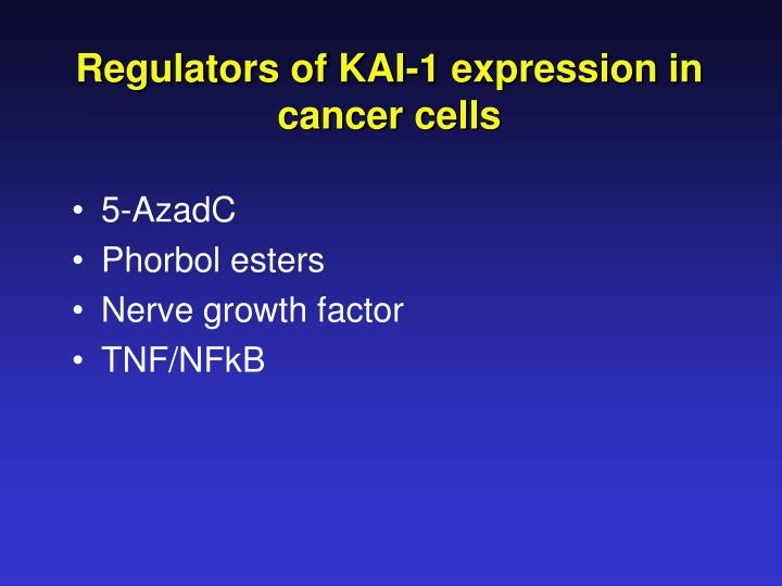 Regulators of KAI-1 expression in cancer cells
