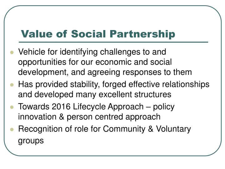 Value of social partnership