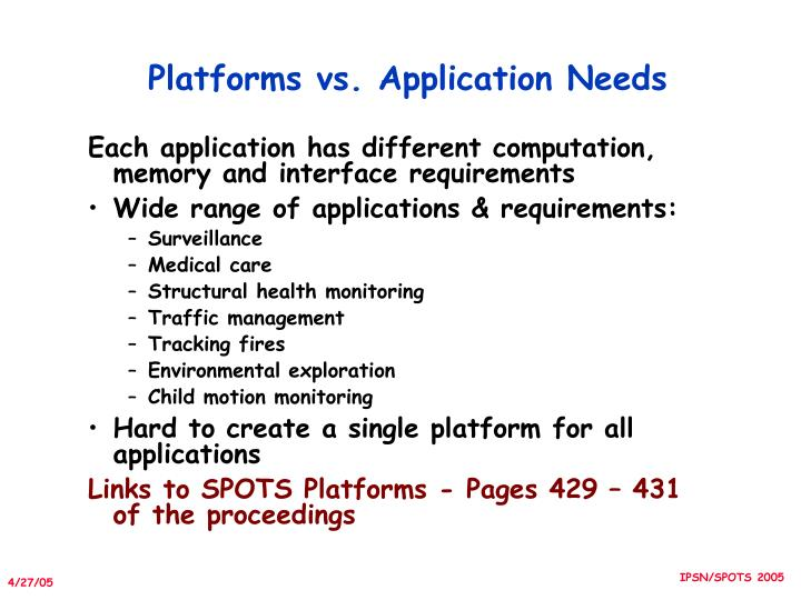 Platforms vs. Application Needs