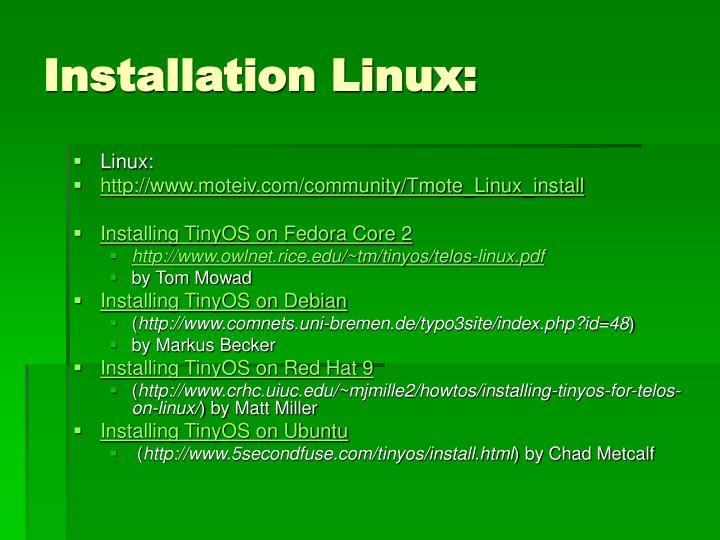 Installation Linux: