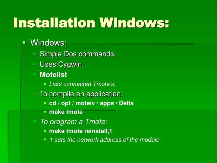 Installation Windows: