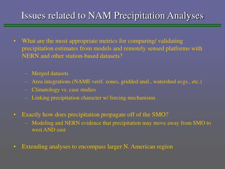 Issues related to NAM Precipitation Analyses