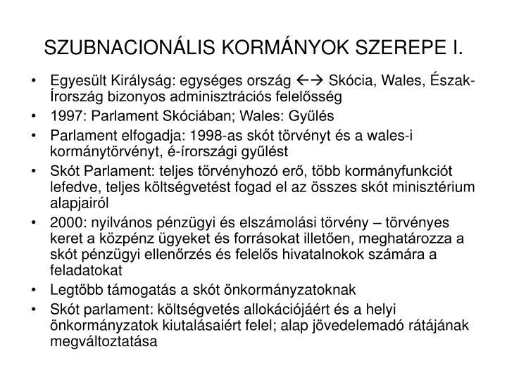 SZUBNACIONÁLIS KORMÁNYOK SZEREPE I.