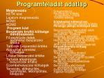 programfeladat adatlap