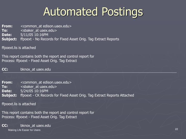 Automated Postings