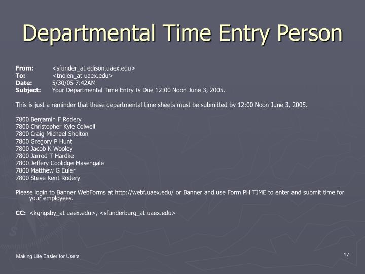 Departmental Time Entry Person