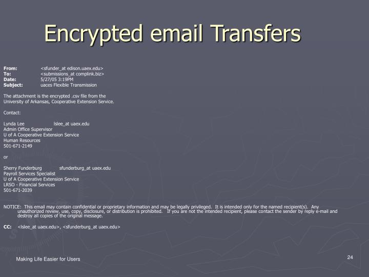 Encrypted email Transfers