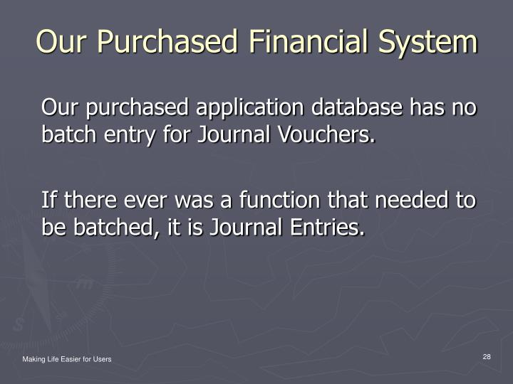 Our Purchased Financial System
