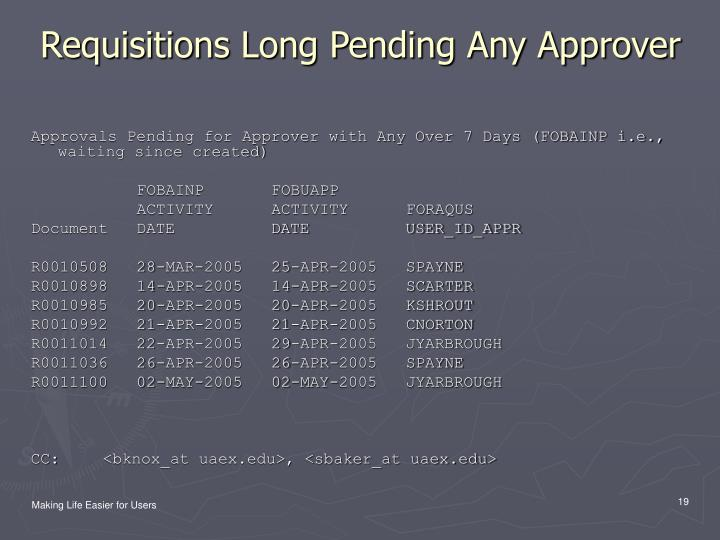 Requisitions Long Pending Any Approver