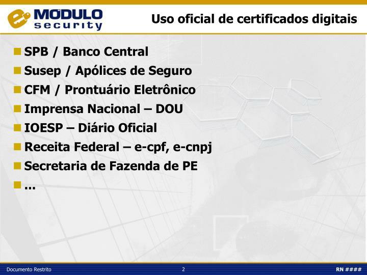 Uso oficial de certificados digitais
