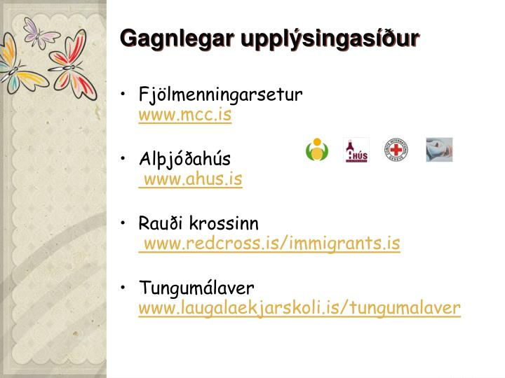 Gagnlegar upplýsingasíður