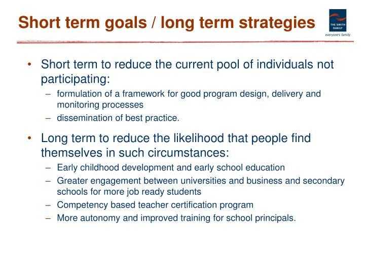 Short term goals / long term strategies