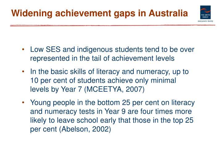 Widening achievement gaps in Australia