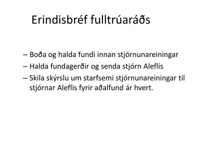 Erindisbréf fulltrúaráðs