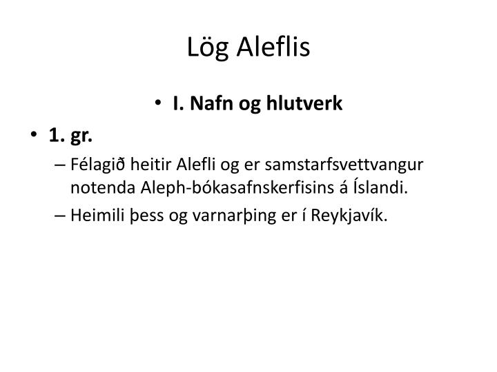 Lög Aleflis