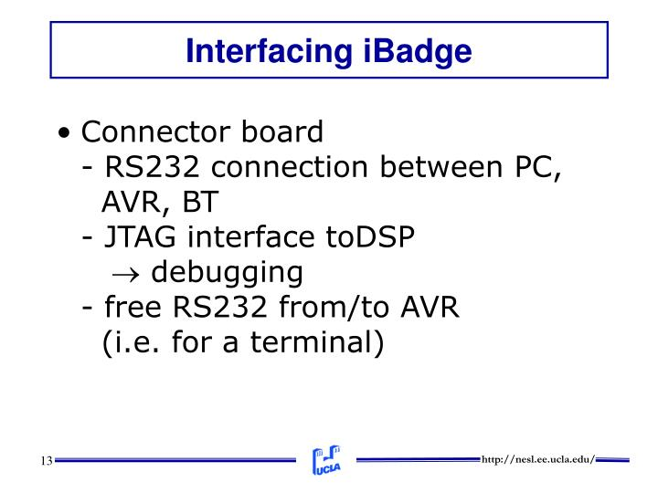 Interfacing iBadge