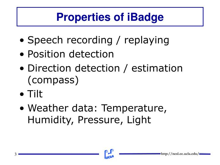 Properties of iBadge