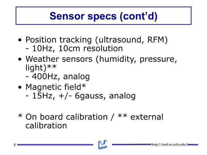 Sensor specs (cont'd)
