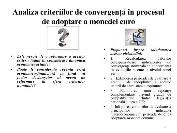 Analiza criteriilor de convergență în procesul de adoptare a monedei euro
