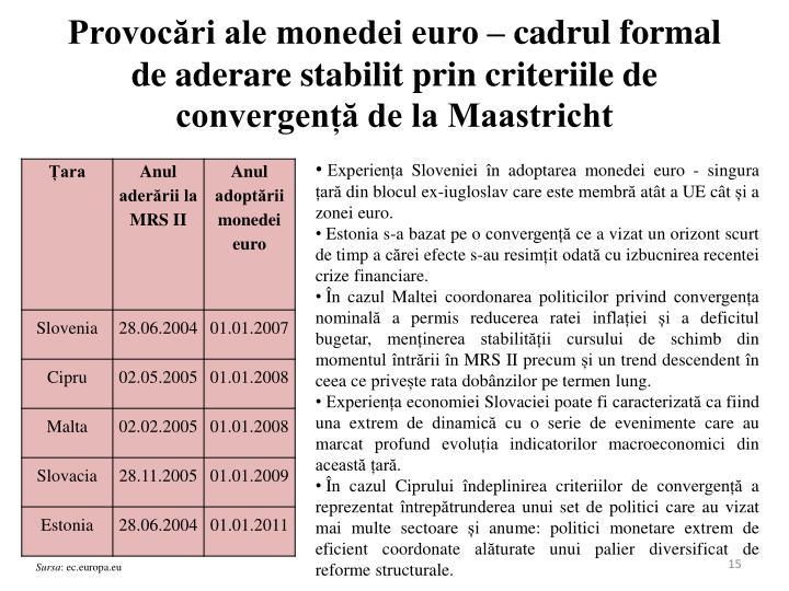 Provocări ale monedei euro – cadrul formal de aderare stabilit prin criteriile de convergență de la Maastricht