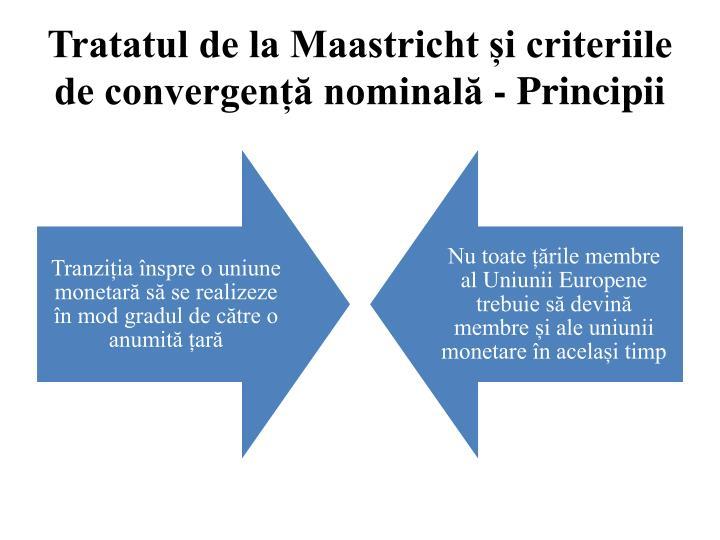 Tratatul de la Maastricht și criteriile de convergență nominală - Principii