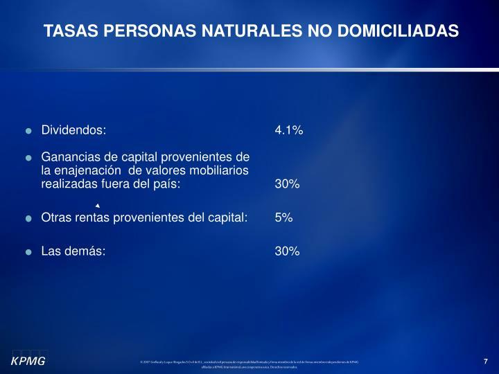 TASAS PERSONAS NATURALES NO DOMICILIADAS
