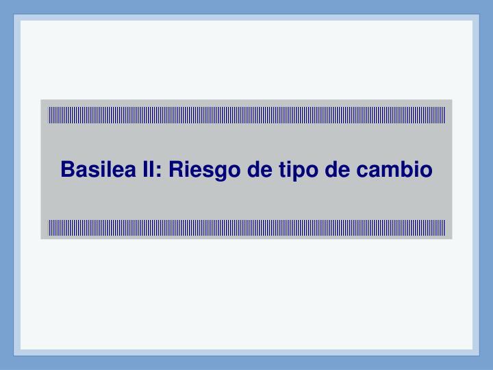 Basilea II: Riesgo de tipo de cambio