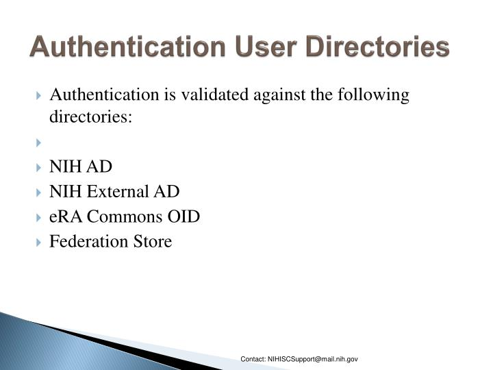 Authentication User Directories