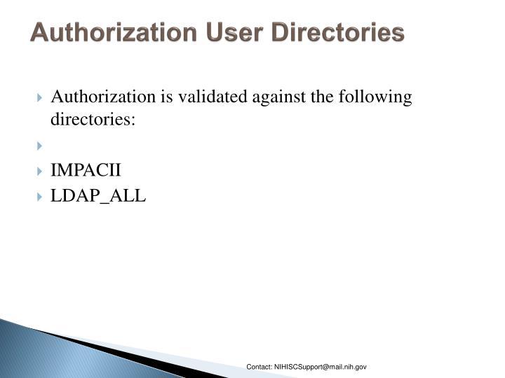 Authorization User Directories