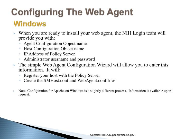 Configuring The Web Agent