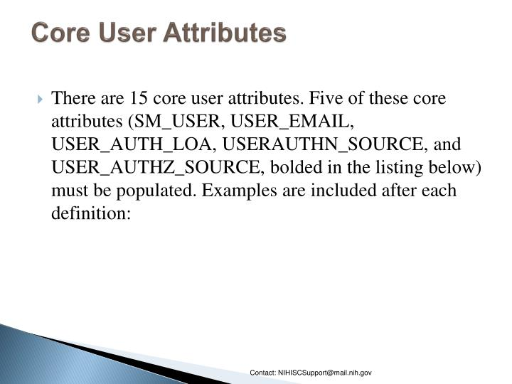 Core User Attributes