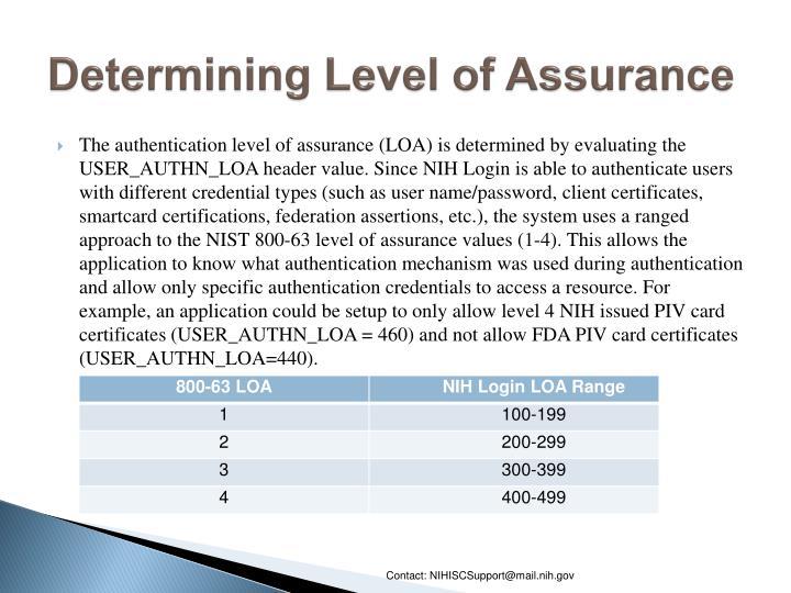 Determining Level of Assurance