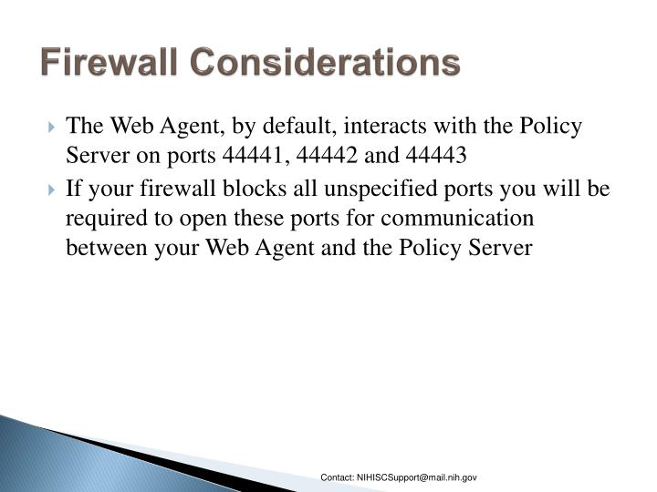 Firewall Considerations
