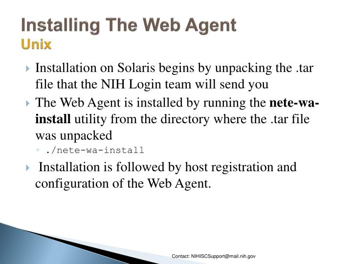 Installing The Web Agent