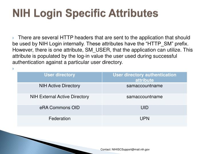 NIH Login Specific Attributes