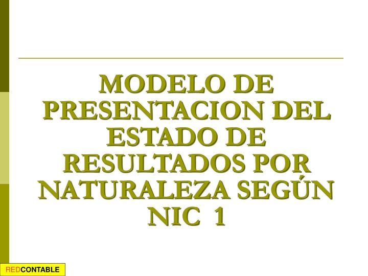 MODELO DE PRESENTACION DEL ESTADO DE RESULTADOS POR NATURALEZA SEGÚN NIC  1