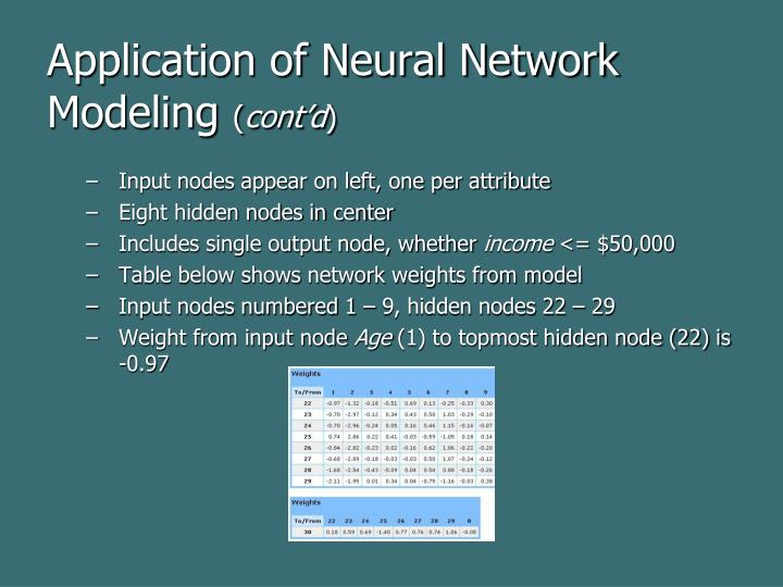 Application of Neural Network Modeling