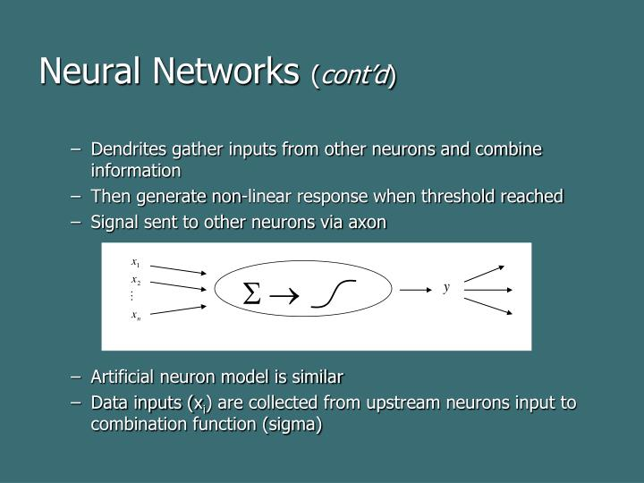 Neural networks cont d