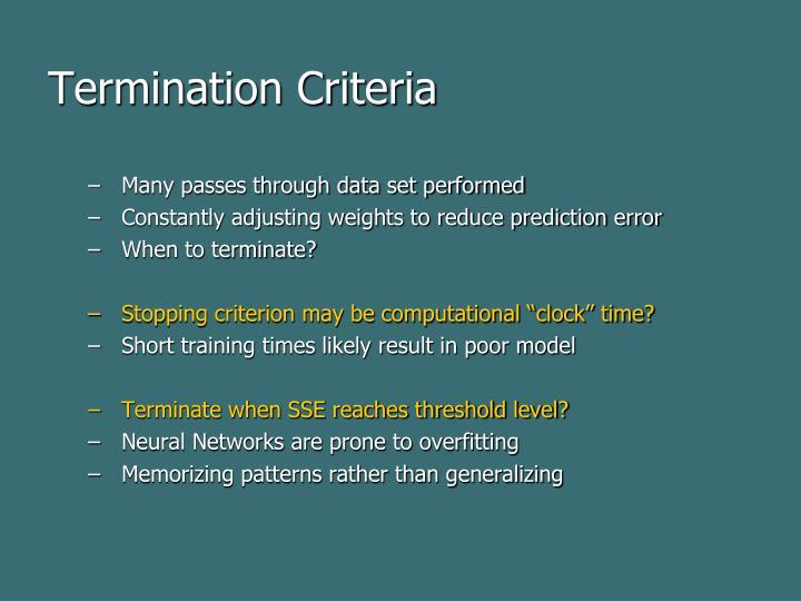 Termination Criteria