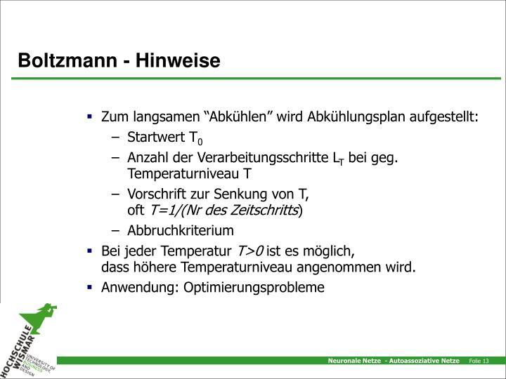 Boltzmann - Hinweise