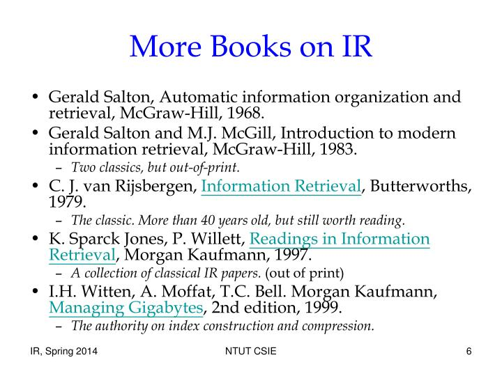 More Books on IR
