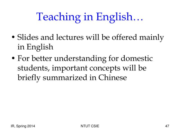 Teaching in English…